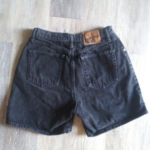 Vintage Wrangler Black Shorts Leather patch high